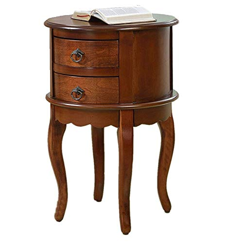 Coffee Table Land Ronde Side Table Vintage bijzettafeltjes Planken Bank Side Kabinet Nightstand Tables coffee pot (Color : Brown, Size : 40x40x65cm)